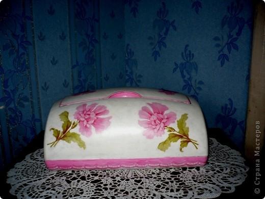У моей дочери любимый цвет-розовый. И кухня и ванна в розовых тонах. Поэтому и хлебницу ,и ведро , что она просила разукрасить я сделала именно в этом цвете. А кашпо по собственной инициативе изобразила. Очень хотелось сделать порядочное кружево. но не было такой салфетки. поэтому решила нарисовать в стиле шитья, но получилось не очень. фото 2