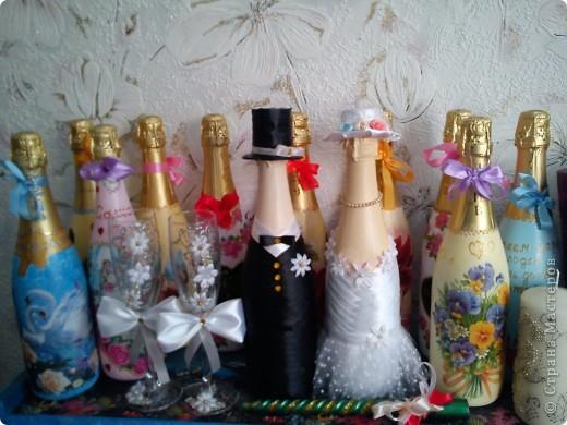 Добрый день! Вот и женился мой сынок! Наделала много бутылок,постараюсь показать все. фото 28