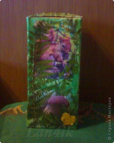 Захотелось сделать что-то для сухих грибов. Картонная коробка, распечатки, разная травка из леса и мох, лак. фото 4
