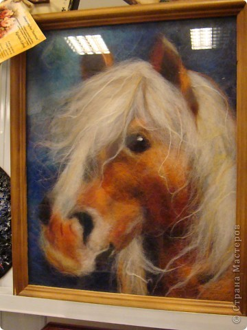 Моя любимая лошадка Лаура.. Картина выложена шерстью, НЕ ВАЛЯНИЕ!!!!!!!!!! фото 1
