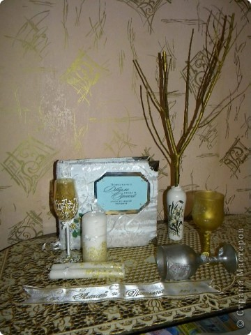 Аксессуары для нашей свадьбы: книга пожеланий, бокалы, свечи, ленточка нашей будущей семьи и денежное дерево!! фото 1