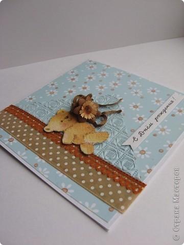 """Эта открытка будет участвовать в задании от челлендж-блога """"Хомячок Challenge""""  http://homyachok-scrap-challenge.blogspot.com/2011/09/4.html  Скрап задание 4: Палитра По заданию надо сделать любой скрап объект, используя палитру: белый, бирюзовый(оттенки синего и голубого) и коричневый фото 2"""