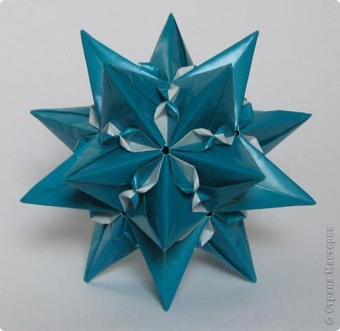 """Всем привет!  Меня недельку не было, а у вас тут столько красивого появилось!  Dodecahedron var. by Tomoko Fuse Идею брала из книги """"Unit origami essence"""", с. 126-127 фото 7"""