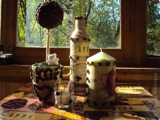 Следуя примеру остальных я тоже сделала свой топиарий,а к нему в придачу свечку и бутылочку) фото 1