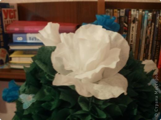 Купила новую гофробумагу голубого цвета и сразу рашила сделать розовое дерево! Работа шла легко и быстро,поэтому через 6 часов результат был налицо! фото 5