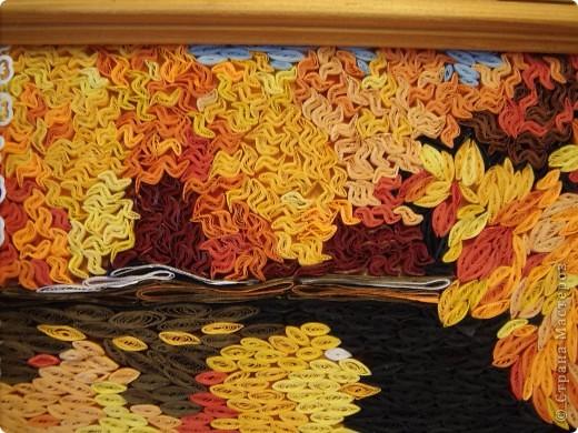 """Кто сказал, что бумагой нельзя рисовать или вышивать? Вот оно -""""Золото осени"""" - чем не вышивка? ))) Квиллинг. Бумажные полоски 3мм. фото 2"""