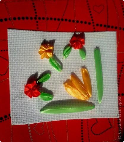 Летом мы жили на даче у бабушки. Бабушка очень любит цветы. На день рождения я вышила ей открытку с любимыми цветами. фото 2