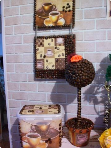 Набор на подарок из панно,кофейного дерева и баночки для кофе. фото 1