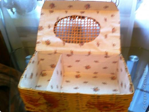 Коробочка для ниток и пуговиц. Оплетала обувную коробку.  фото 3