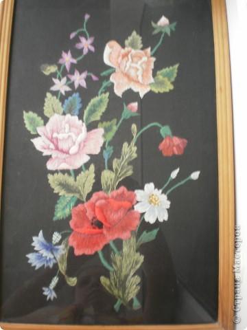 Гладь, розы и мак. Первая вышивка гладью. фото 1