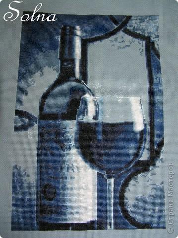 Бокал вина - дизайн Марины Хромовой, канва, мулине  фото 1