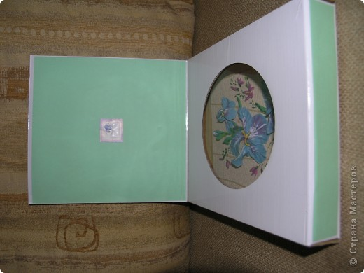 """Решила сделать из необычной коробки подарок на день учителя.  Это коробка """"анфас"""". Выполнена в технике декупаж. фото 2"""