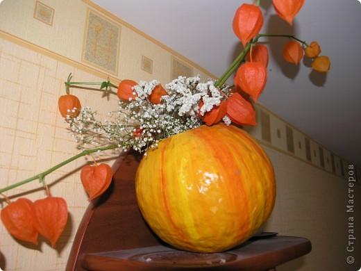 Вот такую тыкву-вазу я сделала по МК Наталии Плесак. Большое ей спасибо! На яблочки пока времени нет, поэтому пока в ней стоит букет из сухих цветов и физалиса. фото 2