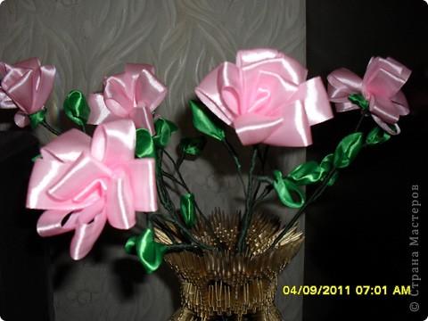 Мои цветы из атласных лент. фото 2
