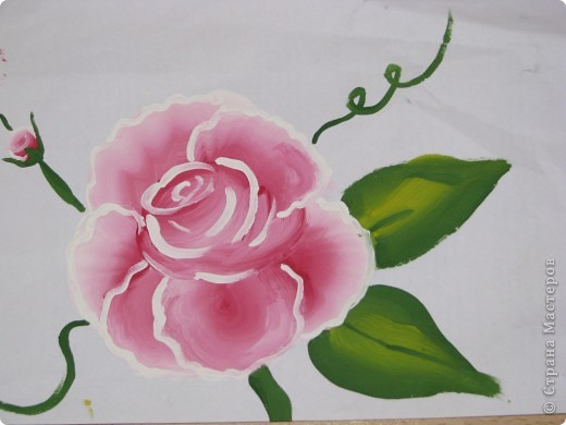 Мои первые цветы (рисование плоской кистью) фото 2