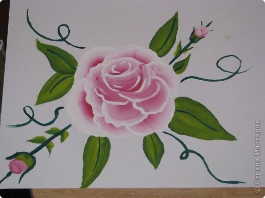 Мои первые цветы (рисование плоской кистью) фото 1