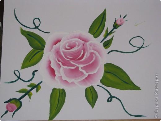 Мои первые цветы (рисование плоской кистью) фото 3