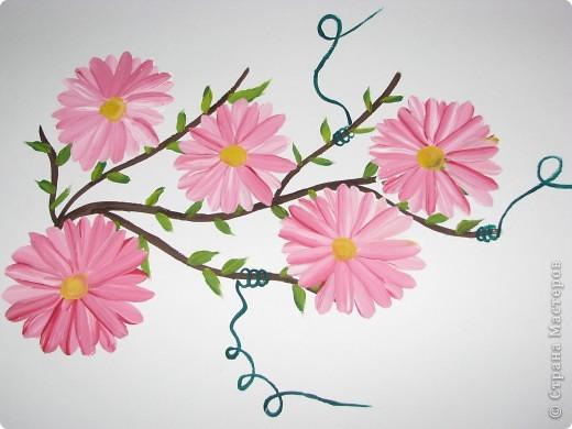 Мои первые цветы (рисование плоской кистью) фото 4