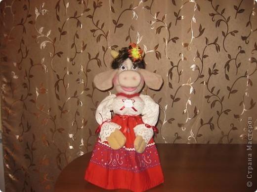 Здравствуйте ,дорогие мастерицы !Познакомтесь-это моя Кармен,коровка выполненная по МК Нины Семеновны.Спасибо ей ОГРОМНОЕ за замечательный МК!!! фото 2