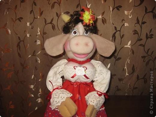 Здравствуйте ,дорогие мастерицы !Познакомтесь-это моя Кармен,коровка выполненная по МК Нины Семеновны.Спасибо ей ОГРОМНОЕ за замечательный МК!!! фото 1