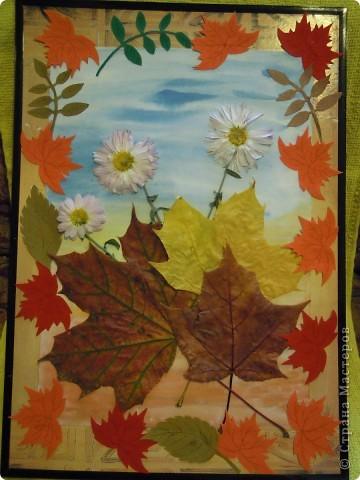 Панно сделано из кленовых листьев, проглаженных утюгом через бумагу. Цветы были заранее засушены как гербарий. Листочки, создающие рамку вырезаны из цветной бумаги- бархатной и простой. Фон картины нарисован акварелью. фото 1