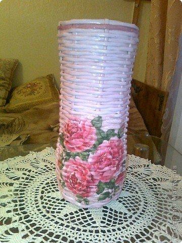 Вазы с декупажем ( внутри пластиковая бутылка) фото 2