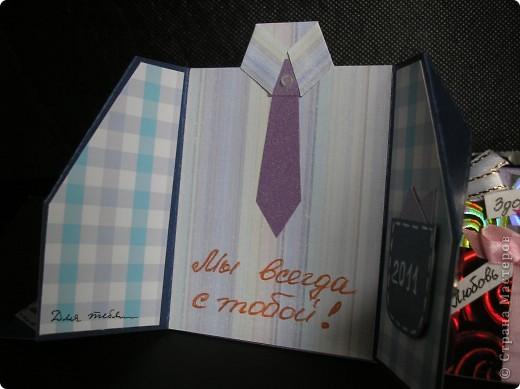 Идею этой открытки я почепнула у Оли Ya-Yalo http://stranamasterov.ru/node/222930?c=favorite . Большое спасибо ей за её творчество! А вот сам пиджачок я подсмотрела у Юлии Саранцевой http://stranamasterov.ru/node/100443?c=favorite . Не смогла выбрать между понравившимися вариантами и просто их соединила. фото 4