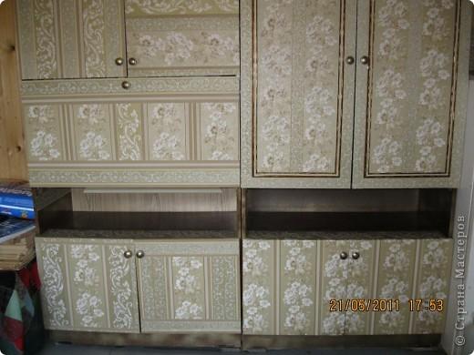 Обои шелкография, лежал остаток, решила обновить шкаф. фото 6