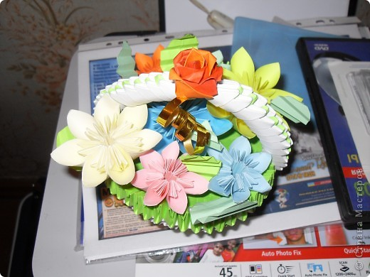 Осенняя корзинка с цветами фото 1