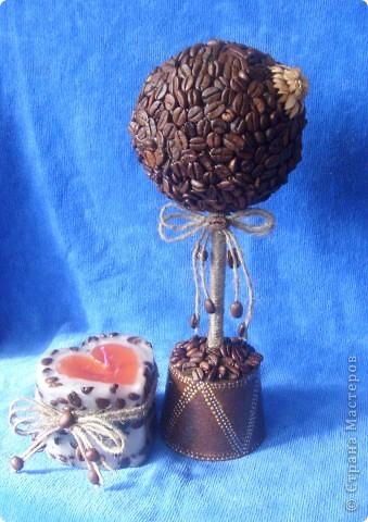 Вот такой подарочек я сделала своей снохе.надеюсь понравиться.свечу и кофейное дерево сделала впервые. фото 1
