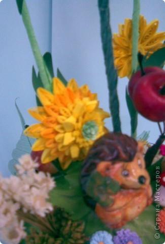 Корзинка, квиллинг, сухоцвет, декоративные яблоки, конфета, ежик и немного фантазии...:)))) фото 6