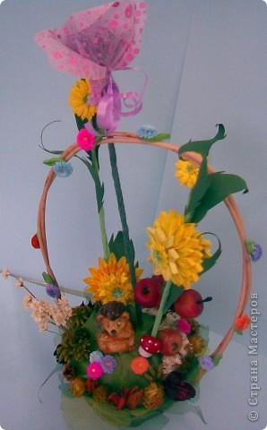 Корзинка, квиллинг, сухоцвет, декоративные яблоки, конфета, ежик и немного фантазии...:)))) фото 4