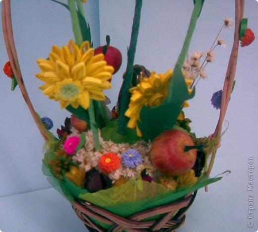 Корзинка, квиллинг, сухоцвет, декоративные яблоки, конфета, ежик и немного фантазии...:)))) фото 8