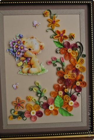 """Панно в рамочке """"Мишутка с цветами"""" фото 2"""