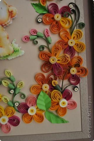 """Панно в рамочке """"Мишутка с цветами"""" фото 3"""