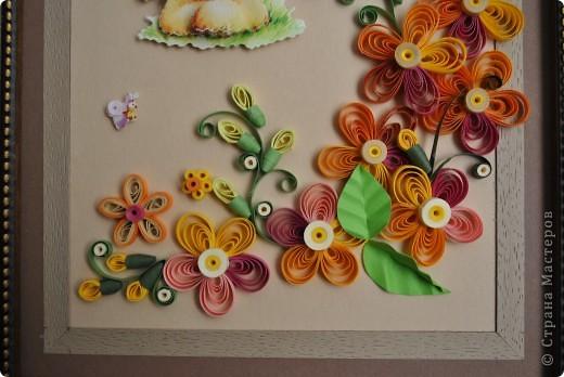 """Панно в рамочке """"Мишутка с цветами"""" фото 4"""