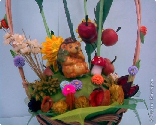 Корзинка, квиллинг, сухоцвет, декоративные яблоки, конфета, ежик и немного фантазии...:)))) фото 10