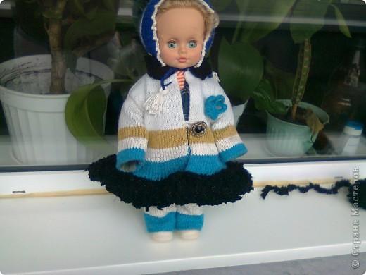 Вязаное польто для куклы фото 3