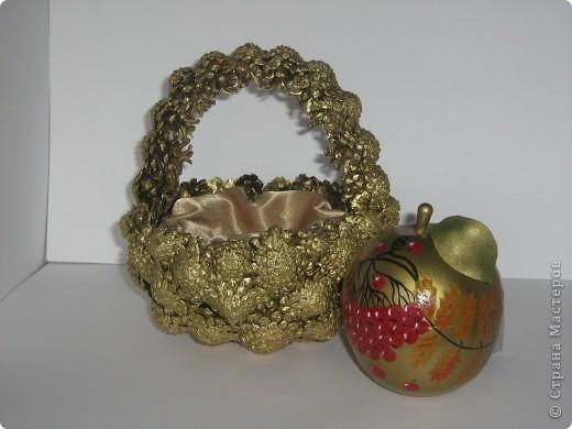 Наливное яблочко в золотой корзиночке. фото 5