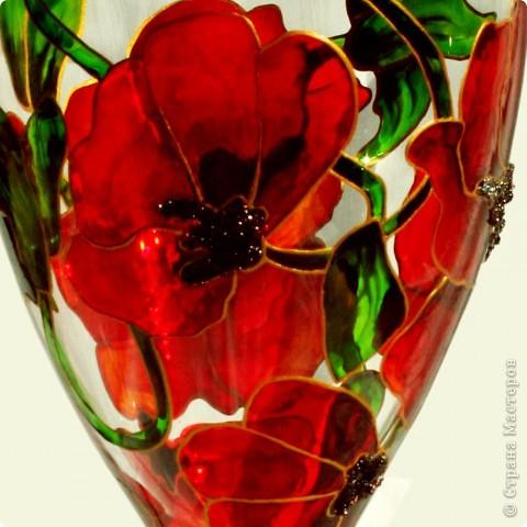 И опять представляю вам мои маки:)) Это набор винных бокалов из дорогого богемского стекла. В наборе 4 шт. фото 3