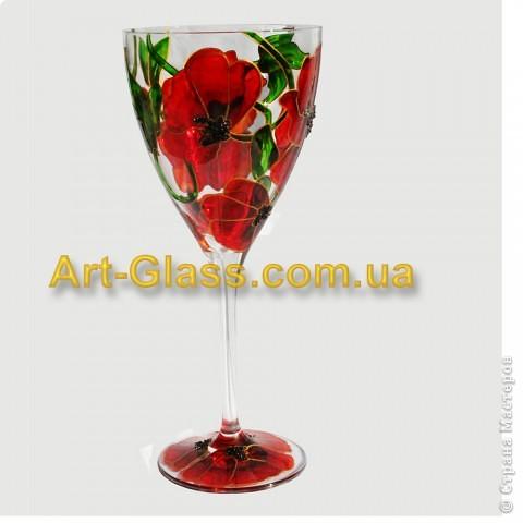 И опять представляю вам мои маки:)) Это набор винных бокалов из дорогого богемского стекла. В наборе 4 шт. фото 2