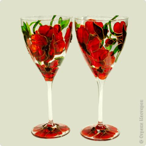 И опять представляю вам мои маки:)) Это набор винных бокалов из дорогого богемского стекла. В наборе 4 шт. фото 1