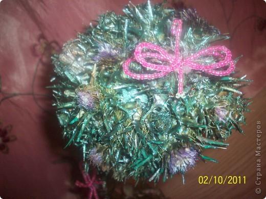 Деревце-кактус, потому что оочень колючее, сделала из расторопши ,  правда большие колючки посрезала, в некоторых местах она цветет) фото 4