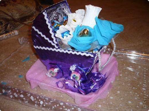 Коляска из конфет фото 1