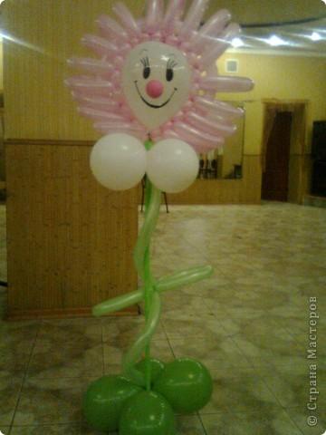 Не судите строго - это мой самый первый цветочек из подручных шариков, поэтому размеры не очень правильные. фото 1