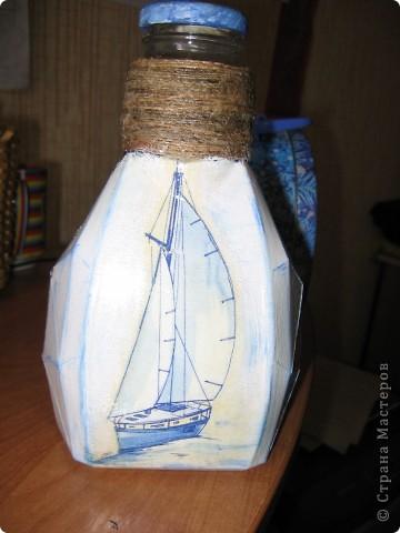 Всем добрый вечер!!!!! Коллеги по работе не забывают про меня , на этот раз одарили бутылкой. Получилась вот такая морская . фото 8