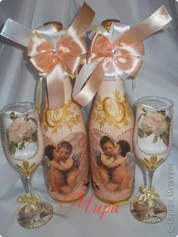 """Здравствуйте,дорогие рукодельницы! Сделала набор на 10 летний юбилей свадьбы,называемый """"Розовой свадьбой"""". Использован сюжет """"Амур и Психея в детстве"""" Бугро. фото 8"""