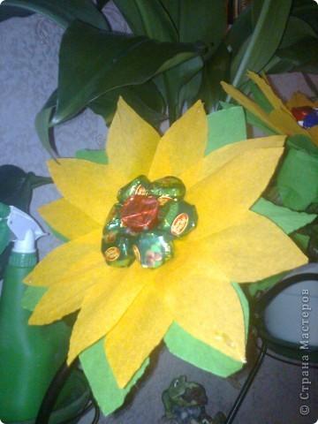 Вот такая вазно-букетно-конфетная поделка будет подарена первой учительнице моего сыночка. фото 5