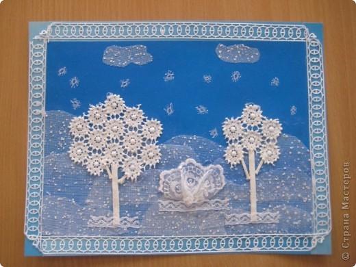 Открытка выполнена из разных видов кружева на обычном картоне+клей ПВА фото 1