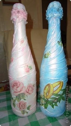 Одёжка для шампанского к свадьбе.Складочки из колготок,салфетки,краска перламутровая акриловая фото 1